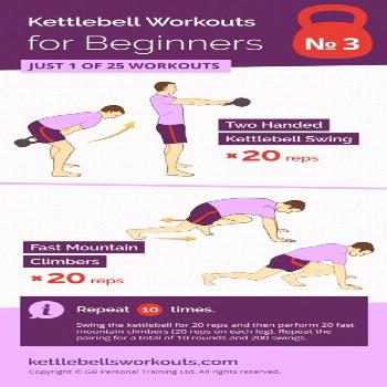 1 of 25 kettlebell workouts for beginners. Using a combination of the kettlebell swing and fast mou
