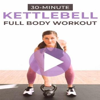 Circuit-style KETTLEBELL HIIT WORKOUT FOR WOMEN! This full body workout combines strength training