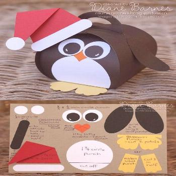 Cute Christmas penguin box & instructions, made with Stampin' Up curvy keepsake die & punches. By D