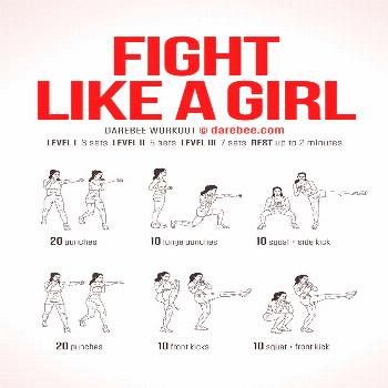 Fight Like A Girl Workout! This fierce and challenging routine will have you punching and kicking y