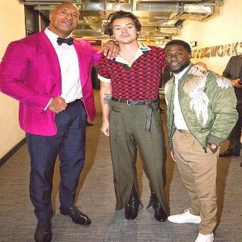 Harry with Dwayne Johanson and Kevin hart