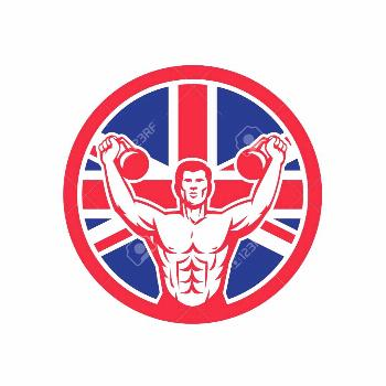Icon retro style illustration of a British physical fitness buff training with kettlebell and Unite